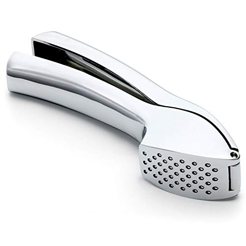 Garlic Press Stainless Steel - Professional Garlic Crusher Press Mincer - Garlic Smasher Grinder Heavy Duty with Sturdy Construction Easy Squeeze, Rust Proof and Easy Clean