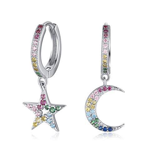 Qings Pendientes aro Plata con Colgante de Estrell Luna Circonitas Colores Star Moon Hoop Dangle Earrings 925 plata de ley Pendientes Colgante de Mujeres, Adolescentes, Niñas