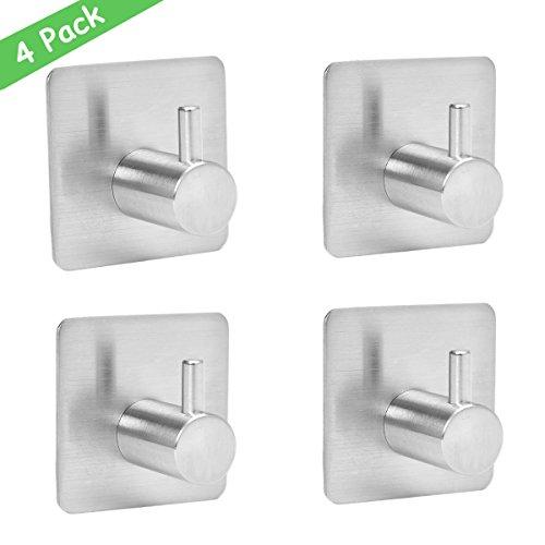 Wemk Set da 4 Ganci Appendini adesivi in acciaio inossidabile Multiuso per Cucina, Bagno Ideale Per Appendere Asciugamani, Abiti, Strofinacci, Utensili, Cappotti, Borse, Cappelli. Impermeabili