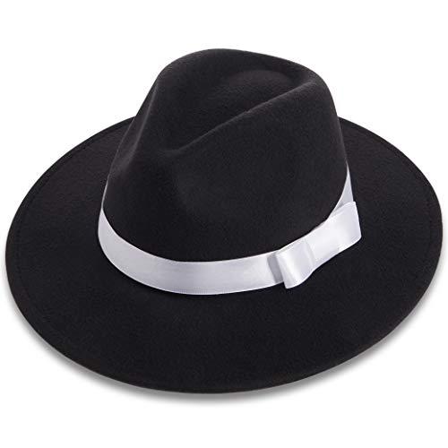 BABEYOND 1920s Gatsby Panama Fedora Hat Cap for Men Gatsby Hat for Men 1920s Mens Gatsby Costume Accessories (Black)