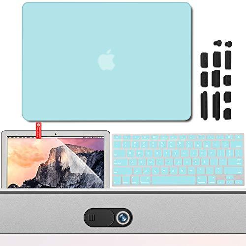 Cubierta de cáscara dura mate GMYLE, cubierta de teclado, protector de pantalla para webcam, tapones anti polvo para MacBook Air de 13.3 pulgadas (A1369 y A1466) verde azulado