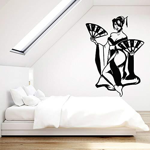 Belle femme Vinyle Sticker Salle De Jeu Geisha Japonais Main Ventilateur Stickers Muraux Chambre Rétro Décoration de La Maison Amovible couleur-3 57x78cm