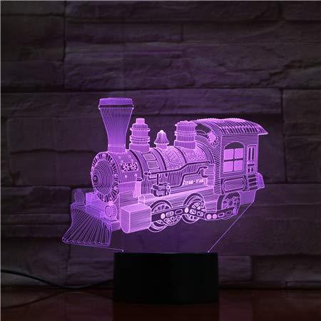 Stoere Stoomlocomotief 3D-Lamp Op Batterijen, Kleurrijk, met Schattige Beloning met Afstandsbediening, Gebruikt voor Een Nachtlampje voor Kinderen voor Kinderen