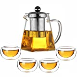 Tea Sets for Adults 500 ml Small Tea Pot with Infuser (Removable) High Transparency Borosicate Round Glass with 4 Tea Cups (50ml) for Loose Tea Coffee for Home Office Party Picnic (Tea Sets)
