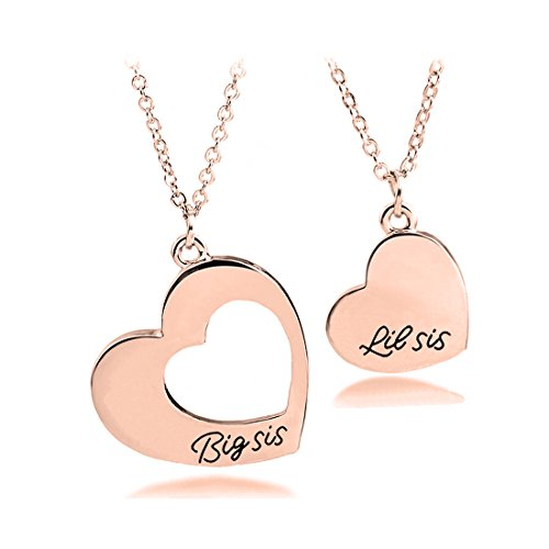 Sister Necklace for 2 Big Sister Little Sister Heart Pendant Necklace (2SIS necklace setRG)