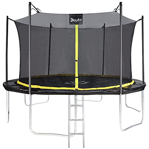 10FT 12FT Trampoline for Kids and Adults, Doufit TR-06 Outdoor Recreational Trampoline Enclosure Net and Ladder, Family Jumping Exercise Fitness Heavy Duty Rebounder (12FT-Black-with Ladder)