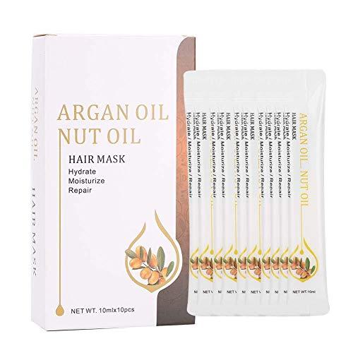 Aceite esencial para el cabello para cabello seco y dañado Acondicionador profundo para reparar y restaurar el cabello dañado Crema nutritiva hidratante para el cabello, 10 ml x 10 piezas