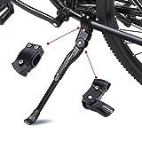 ANWONE Caballete Lateral Ajustable, Soporte de Bicicleta de aleación Ajustable MTB con pie de Goma Antideslizante, Soporte de pie de aleación Universal para Bicicleta 22'- 28' (Negro)