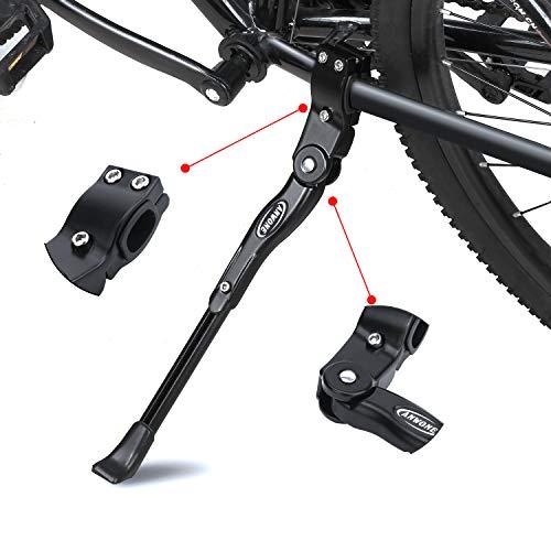 ANWONE Cavalletto Laterale Regolabile, Basamento Registrabile della Lega di Alluminio MTB con Il Piedino di Gomma Antiscivolo, Supporto Universale per MTB Bici 22'-28'(Nero)