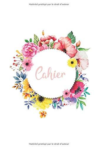 Cahier: DIN A5 / 15 x 23 cm - Blanc - 122 pages ou 61 feuilles - bloc note bullet journal cahier Noël Blanc avec fleurs Plante Aquarelle Aquarelle Rose Soleil Rond