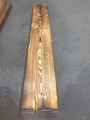 Grosse geflammte Holzplanke Holzbohle 100 x 14,5 x 3cm Deko-Bastel-Holz aus Nadelholz Schnittholz Holzbrett Kistenbrett (Geflammt, 2er Set)