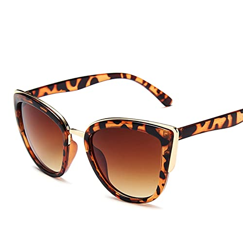 ASZX Gafas de sol de gran tamaño para mujer, estilo retro, para mujer, ojo de gato, gafas de sol de lujo con personalidad degradada 713 (color: leopardo, tamaño: talla única)