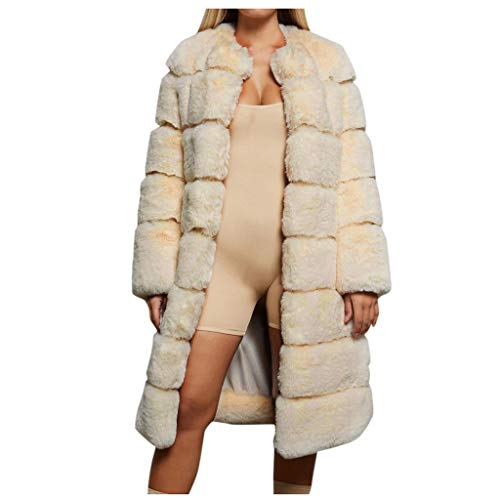AOGOTO Abrigo de piel sintética para mujer, cálido, de manga larga, acogedor, peludo, tallas grandes, cálido, abrigado, parka