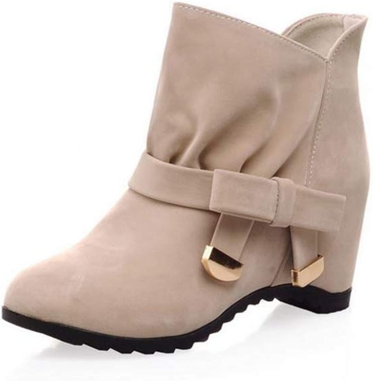 IINFINE Ankle Boots for Women Mid Chunky Block Stacked Heels Round Toe Booties