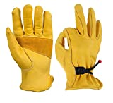 Gants de jardinage sécurité avec revêtement travail Jardin Grip travail enduits nitrile en cuir pour hommes de SHESHY avec boucle et ruban adhésif de poignet, 1 paire