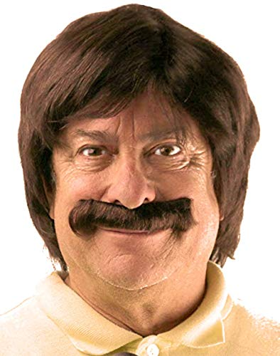Brown Retro Wig and Mustache Set | Sonny Bono, Sonny and Cher, Anchorman, Ron Burgundy 60's Hippie Costume Wig