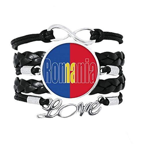 DIYthinker Armband mit Rumänien, Länderflagge, Namensarmband, Liebesaccessoire, gedrehtes Leder, Strickseil