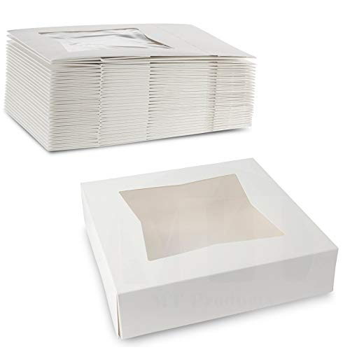 Beautiful White Colored Paperboard Pastry, Bakery Box - Keep Donuts, Cookies, Muffins Safe - Unique Auto Popup Feature and Clear Window for Visibility Size 9' L X 9' W X 2 ½' H (25 Pieces)