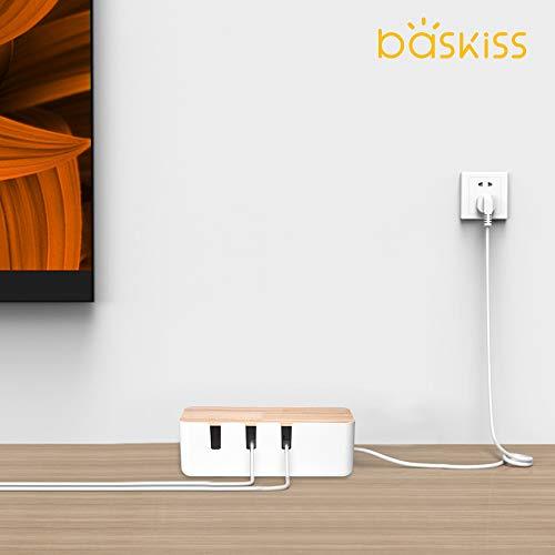 Baskiss電源タップ&ケーブルボックステーブルタップ収納ボックス天然木&樹脂製ホワイト