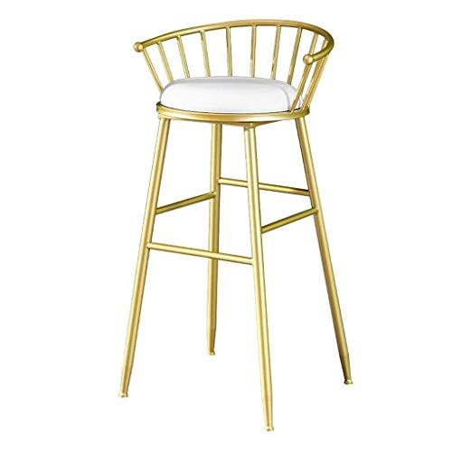 Barkruk eetkamerstoel, hoge rugleuning, kussen velours, wit, frame van verguld metaal, zithoogte 29,5 inch, stoel daarentegen barkruk voor keuken, bistro, café, pub boerderij, Ta
