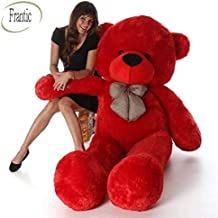 Frantic Soft Plush Fabric Teddy Bear with Neck Bow 4 Feet – Red