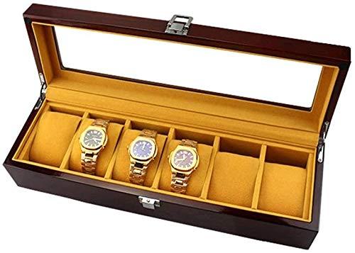 Organizador de relojes y joyas de madera pintada con tapa de cristal para relojes y joyas (color: marrón, tamaño: 36,7 x 11,8 x 8,5 cm) (color: marrón, tamaño: 36,7 x 11,8 x 8,5 cm)