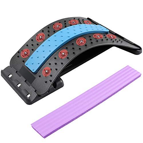 Rückenstrecker,Rückenmassage Unterstützung mit magnetischen Akupressurpunkten 4-stufige Anpassung, Lendenwirbelsäule, Rücken, Nackenstütze für Schmerzlinderung, Bandscheibenvorfall, Ischias, Skoliose