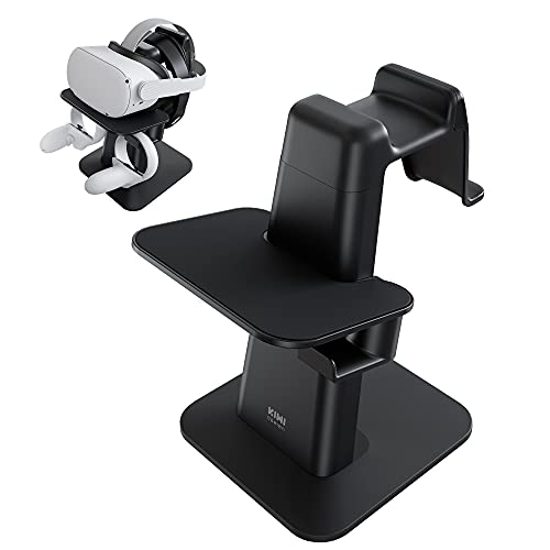 KIWI design VR Stand Accessories for Oculus Quest 2/Rift S/Quest/Valve Index/HP Reverb G2 VR Headset and Touch Controllers(Black)