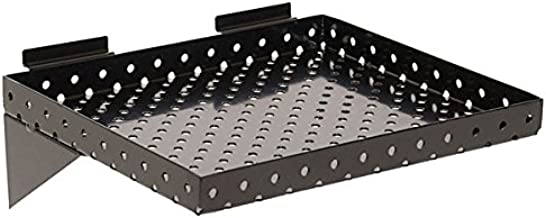 """KC Store Fixtures A02024 Slatwall Shelf, 12"""" W x 10"""" D x 1"""" Perforated Metal, Black (Pack of 2)"""