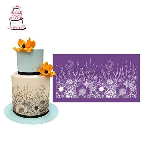Oulensy Alles Wächst Kuchen Stencil Blumen-Spitze-ineinander Greifen-schablonen Für Hochzeitstorte Border Stencils Fondantform Kuchen, Der Werkzeuge