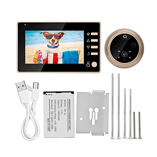 mrjg Cámara de la Puerta 4.3in 1MP HD Viewer Viewer Cámara Pantalla Video Doorbell Kit Grabación Noche Visión (Color : A)