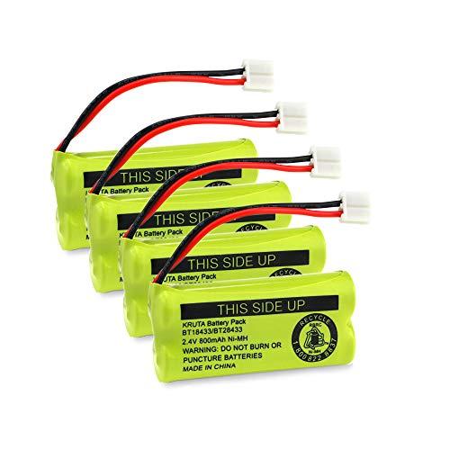 Kruta BT18433 BT28433 2.4V 800mAh Ni-MH Cordless Phone Battery Pack Compatible with BT18433/BT28433 CS6219 CS6229 DS6301 DS6151 DS6101 BT184342 BT284342 BT-1011 BT-1018 BT-1022 BT-1031,4 Pack