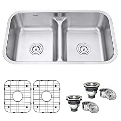 Ruvati 32-inch Low-Divide Double Bowl Undermount  Kitchen Sink - RVM4350
