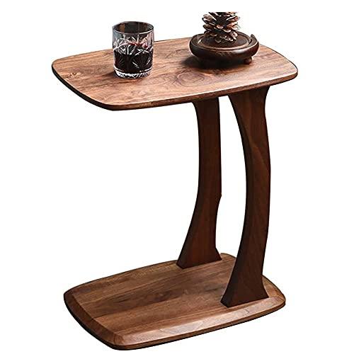 ZJWD C Tisch Beistelltisch Beistelltisch Sofa Tisch Couchtisch, Massivholz Sofa Beistelltisch Wohnzimmer Beistelltisch Braun C-förmiger Beistelltisch