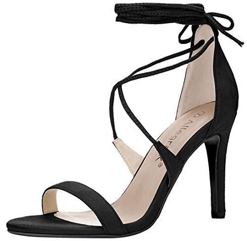 Allegra K Women's Open Toe Stiletto High Heel Lace-up Sandals (Size US 8) Black