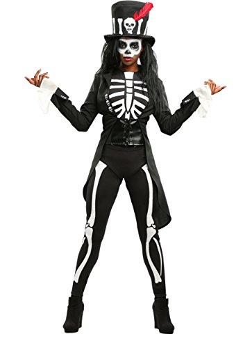 Voodoo Skeleton Costume for Women Large Black