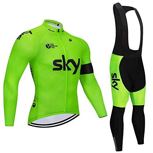 Autunno/Primavera Tuta da Ciclismo da Uomo A Maniche Lunga i Pantaloni con Cuscino per Maglia da Ciclismo MTB + Salopette da Ciclismo