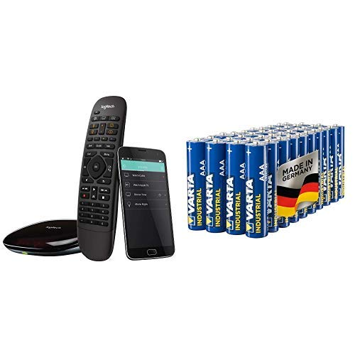 Logitech HarmonyCompanionAll-in-one-Fernbedienung (geeignet für Smart-Home und Unterhaltungsgeräte schwarz & Varta Industrial Batterie AAA Micro Alkaline Batterien LR03 - 40er Pack, Made in Germany