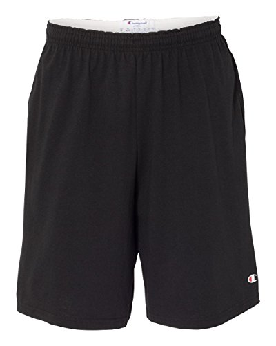 Champion 8180 Men's 9' Inseam Cotton Jersey Shorts With Pockets Black XL