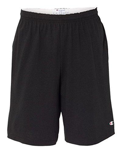 Champion 8180 9' Inseam Cotton Jersey Shorts With Pockets Black L