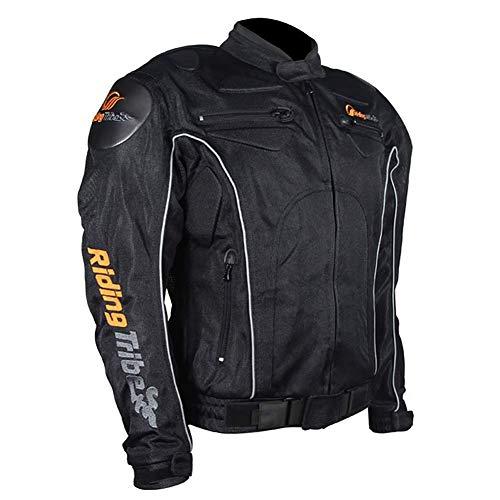 AMITD Chaqueta para Motocicleta Chaqueta de Moto, Multipropósito Cuatro Estaciones Impermeable Resistente con Malla Transpirable Armours M-4XL Negro