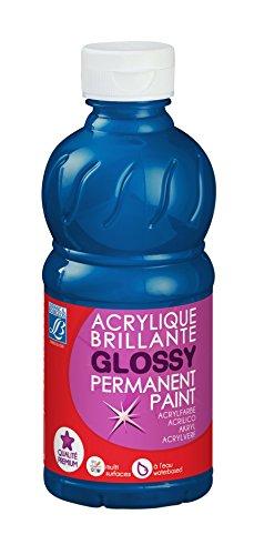Lefranc Bourgeois - Acrylique liquide brillante Glossy pour enfants- Bouteille 250ml - Bleu primaire