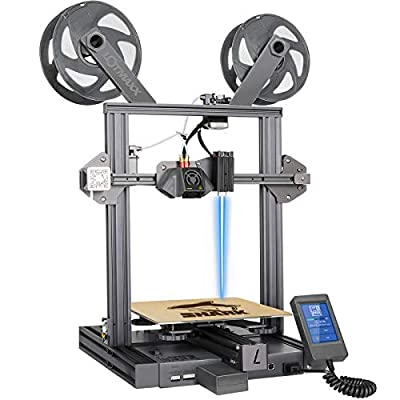 Lotmaxx Shark 3D Printer with Dual Extruder, Laser Engraving & Two-Color Printing 2 in 1, 95% Preassembled Metal 3D Printer Machine with Magnetic Bed, Print Size 235x235x265mm(Space Gray)