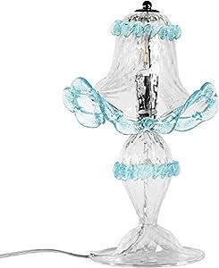 Lámpara de mesa de cristal de Murano color puro y color turquesa. Colores personalizables