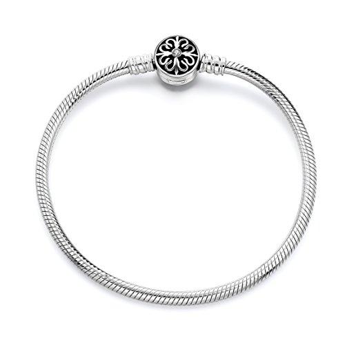 Long Way 925 Sterling Silver Snake Chain Bracelet Basic Charm Bracelets for Teen Girls Women (8.3Inch)