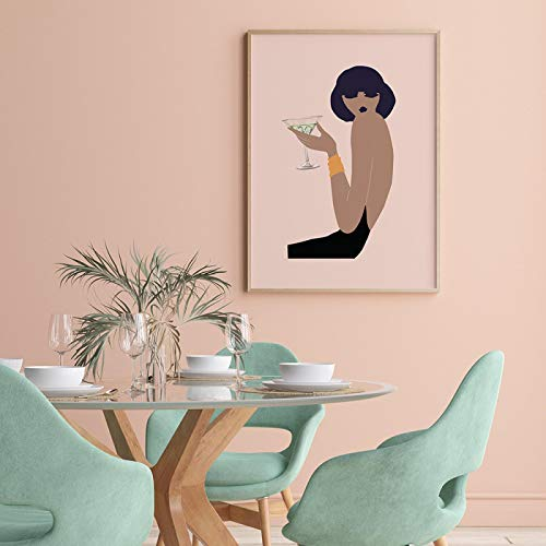 SHKJ Mujer Boho con Carteles de Copa de Vino Impresiones Lienzo Pintura Pared Arte Imagen para Sala de Estar Estilo nórdico decoración del hogar 60x80cm / 23.6'X31.5 Sin Marco