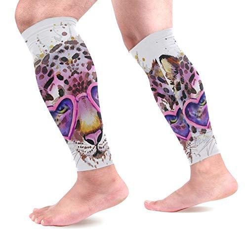 hdyefe COOSUN Watercolo Love Heart Leopard Kalb Kompression Ärmel Schienbeinschoner Beinschützer Wadenschmerzen Linderung für Laufen,