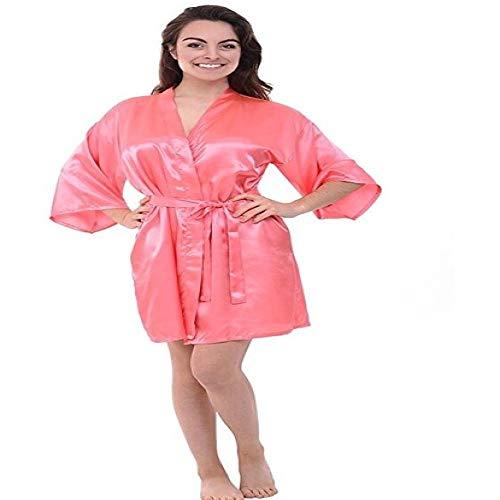 Handaxian Seda de satén de Seda para Noche, túnica de Color sólido, túnica de Kimono, Albornoz de Moda, Novia de Boda, túnica de Dama de Honor, Coral XXL