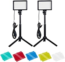 Dimmable 5600K USB LED Video Light with Adjustable Tripod Stand/Color Filters for Tabletop/Low Angle Shooting, Colorful LED Lighting, Product Portrait YouTube Video Photography(2 Packs )