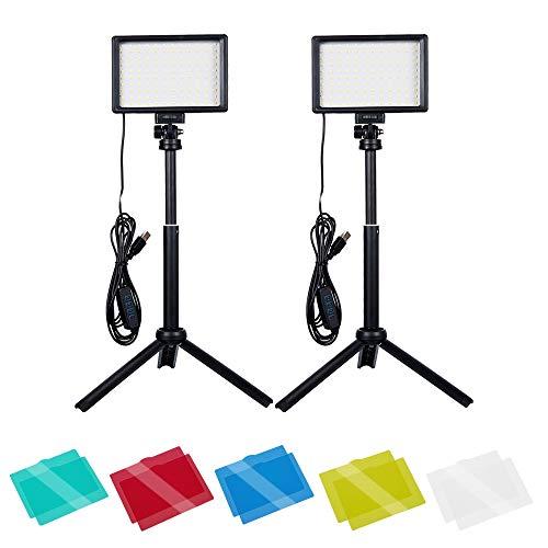 Dimmbare 5600K USB LED Videolicht, Beleuchtung für Fotostudios/Videoleuchte mit Stativ für Tisch-/Flachwinkelaufnahmen/Videoaufzeichnung/Meeting/Tiktok/Game-Streaming/YouTube (2 Packs)